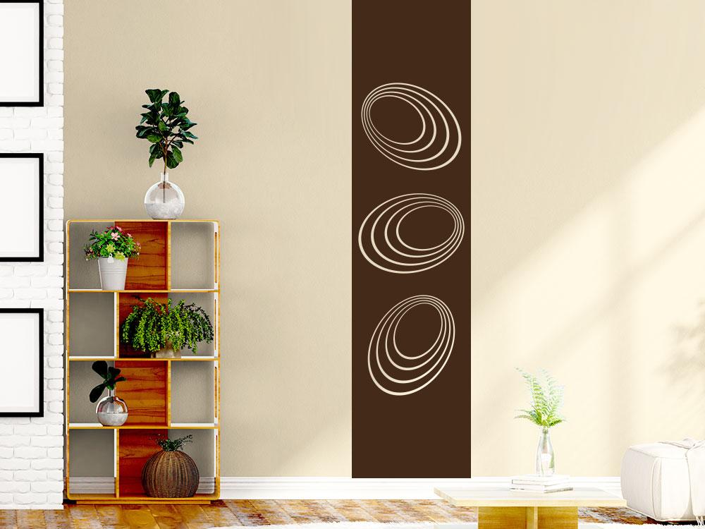 Wandtattoo Wandbanner Dimension der Kreise in der Farbe Braun