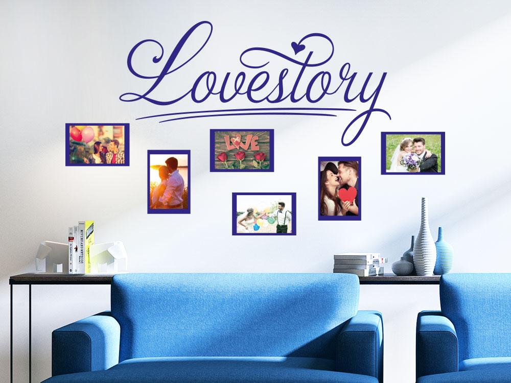 Wandtattoo Fotorahmen Lovestory in Blau über Sessel