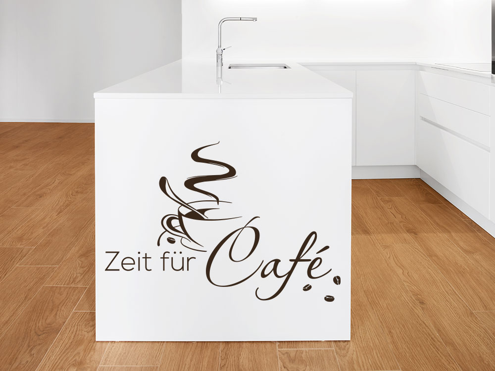 Wandtattoo Café Zeit auf Küchenblock