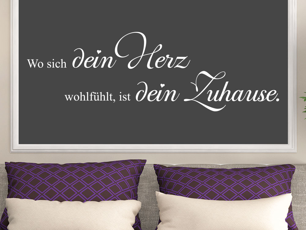 wandtattoo wo sich dein herz wandspruch klebeheld de. Black Bedroom Furniture Sets. Home Design Ideas