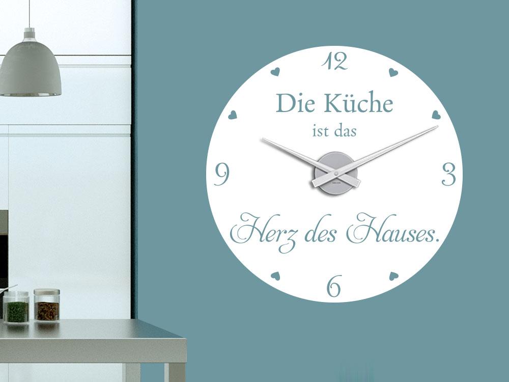 Wandtattoo Uhr Die Küche ist das Herz des Hauses neben Küchenzeile