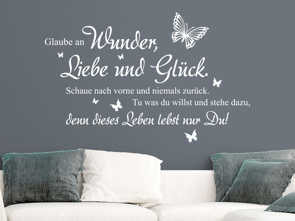 wandtattoo wunder liebe und gl ck klebeheld de. Black Bedroom Furniture Sets. Home Design Ideas