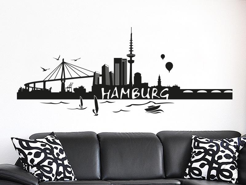 Wandtattoo Skyline Hamburg