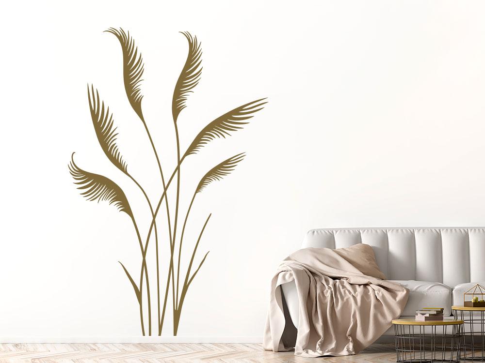 Wandtattoo Gräser im Wind Pflanze im Wohnzimmer