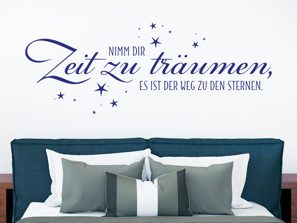 Wandtattoo Zeit zu träumen... helle Wand im Schlafbereich