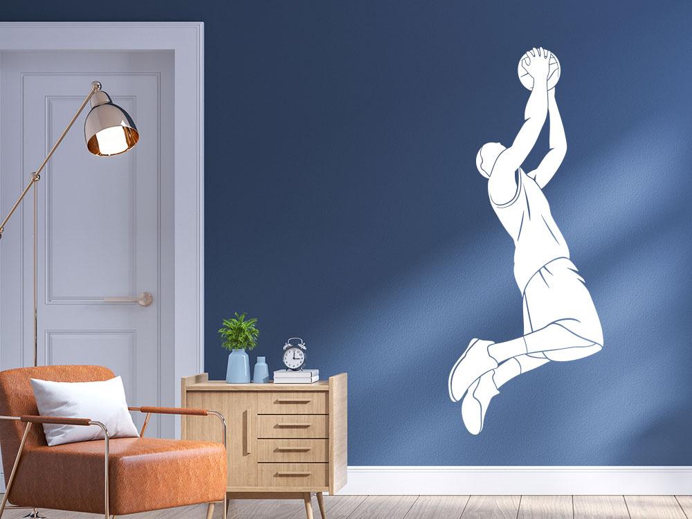 Baskbetballspieler mit Ball Wandtattoo im Jugendzimmer