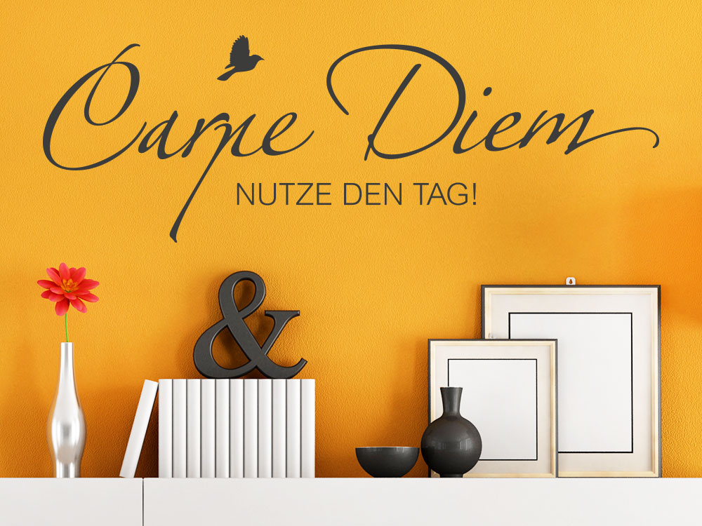 wandtattoo carpe diem mit vogel von klebeheld de. Black Bedroom Furniture Sets. Home Design Ideas