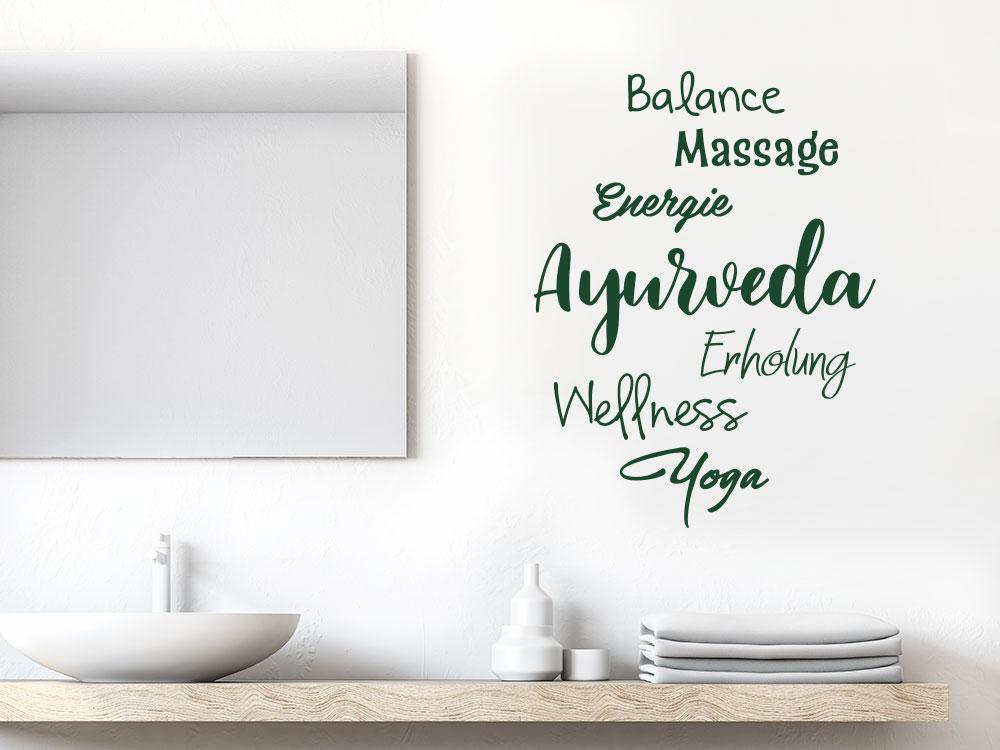 Wandtattoo Ayurveda Begriffe im Badezimmer