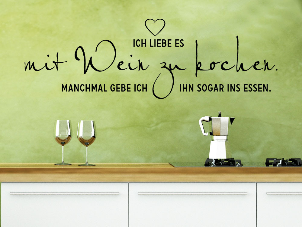 Wandtattoo Mit Wein Zu Kochen Spruch Klebeheld De