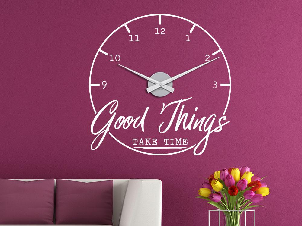 Wandtattoo Uhr Good Things im Wohnzimmer Farbe weiß