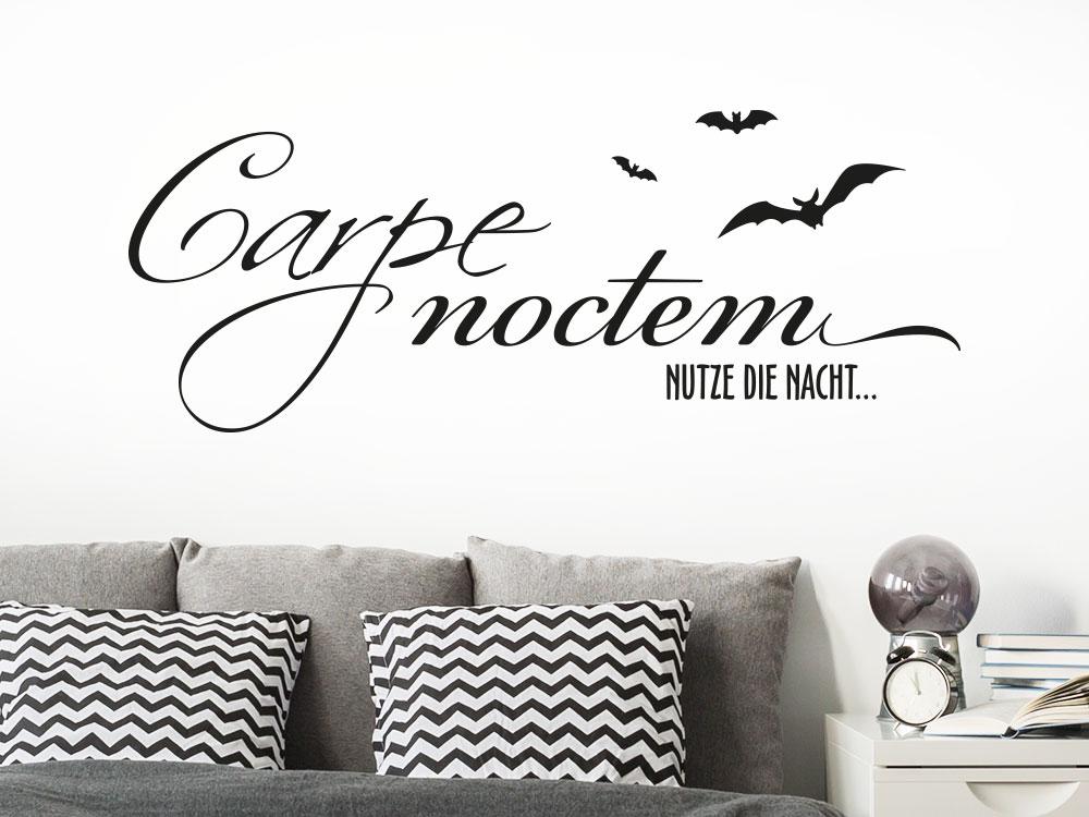 Wandtattoo Carpe Noctem mit Fledermäusen in der Farbe schwarz