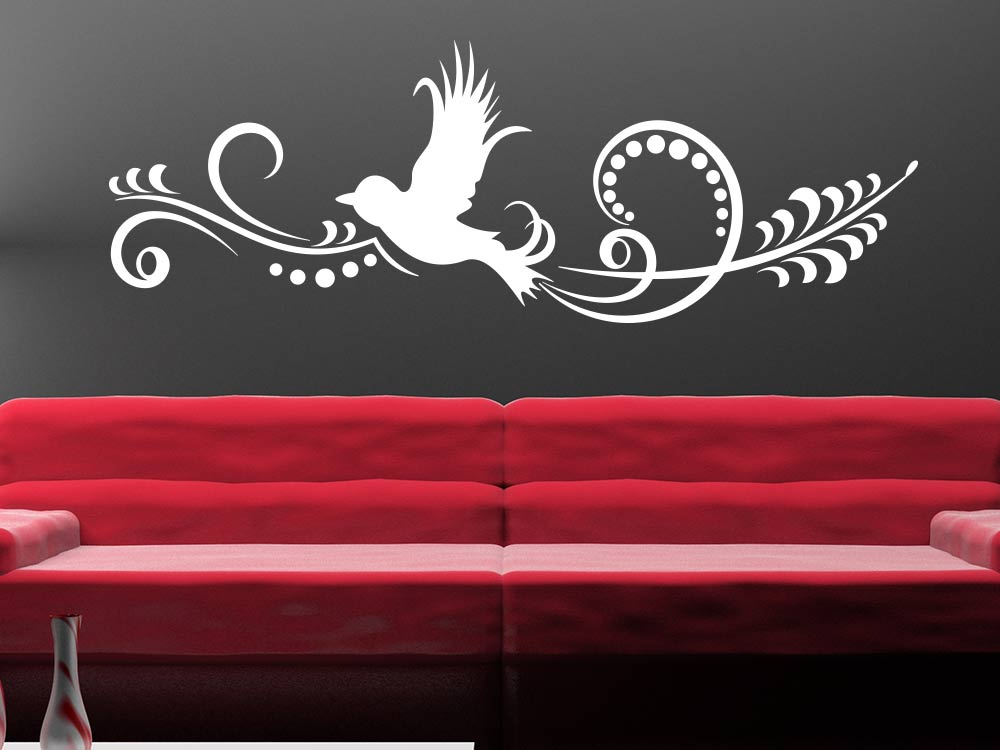 Wandtattoo Vogel Ornament über Sofa