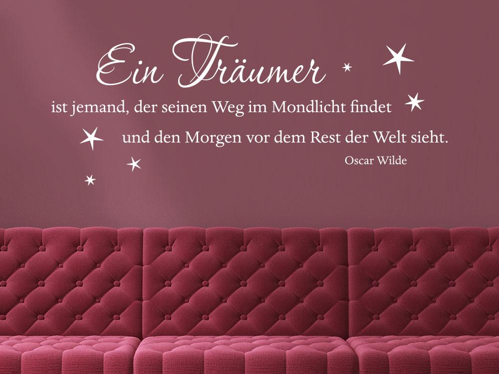 Wandtattoo Ein Träumer ist jemand, der seinen Weg im Mondlicht findet - Zitat Oscar Wilde