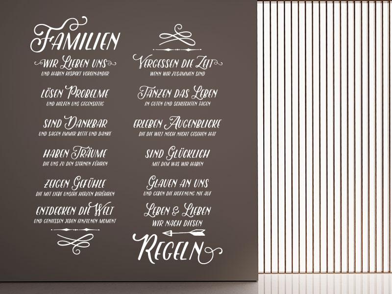 Wandtattoo Familienregeln Spruch