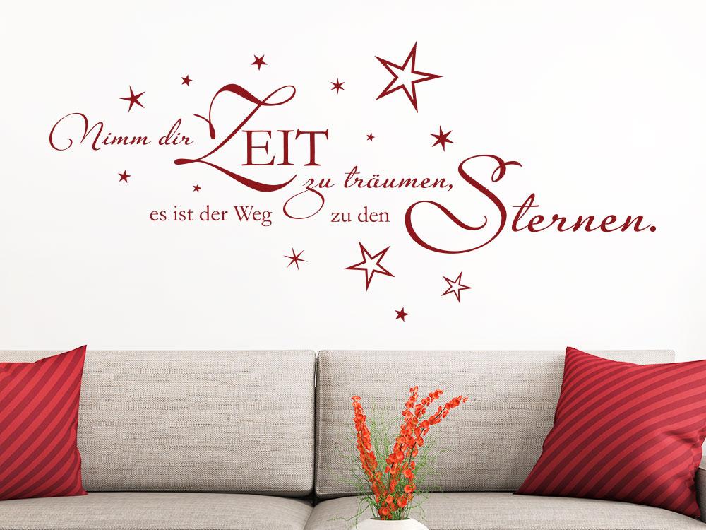 Wandtattoo Nimm dir Zeit zu Träumen… Wanddeko auf heller Wand
