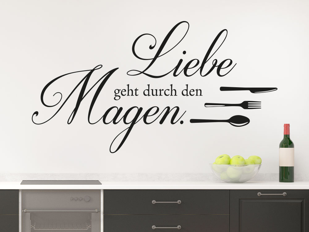 liebe geht durch den magen wandtattoo von klebeheld de. Black Bedroom Furniture Sets. Home Design Ideas