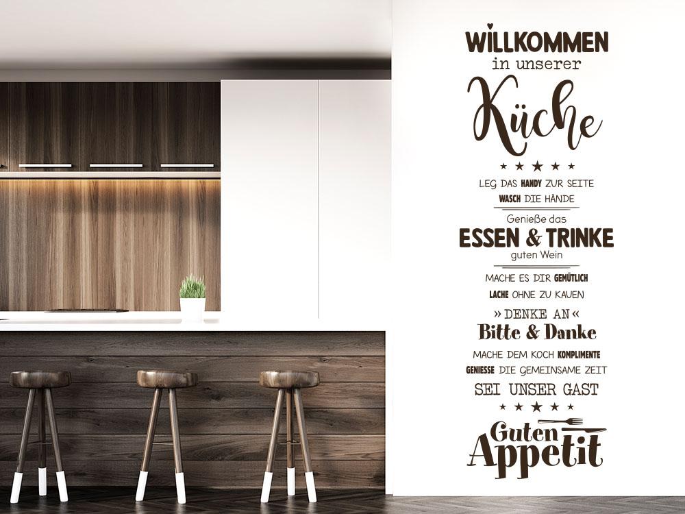 Willkommen in unserer Küche Wandtattoo in der Farbe Braun