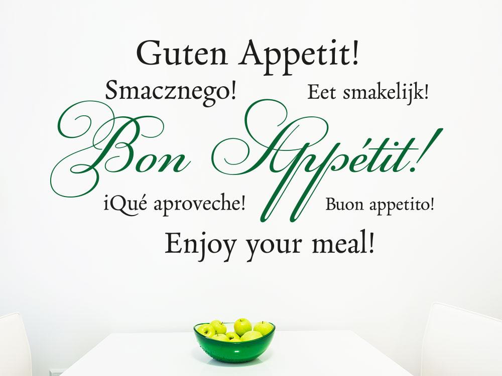 Wandtattoo Bon Appétit zweifarbig im Essbereich