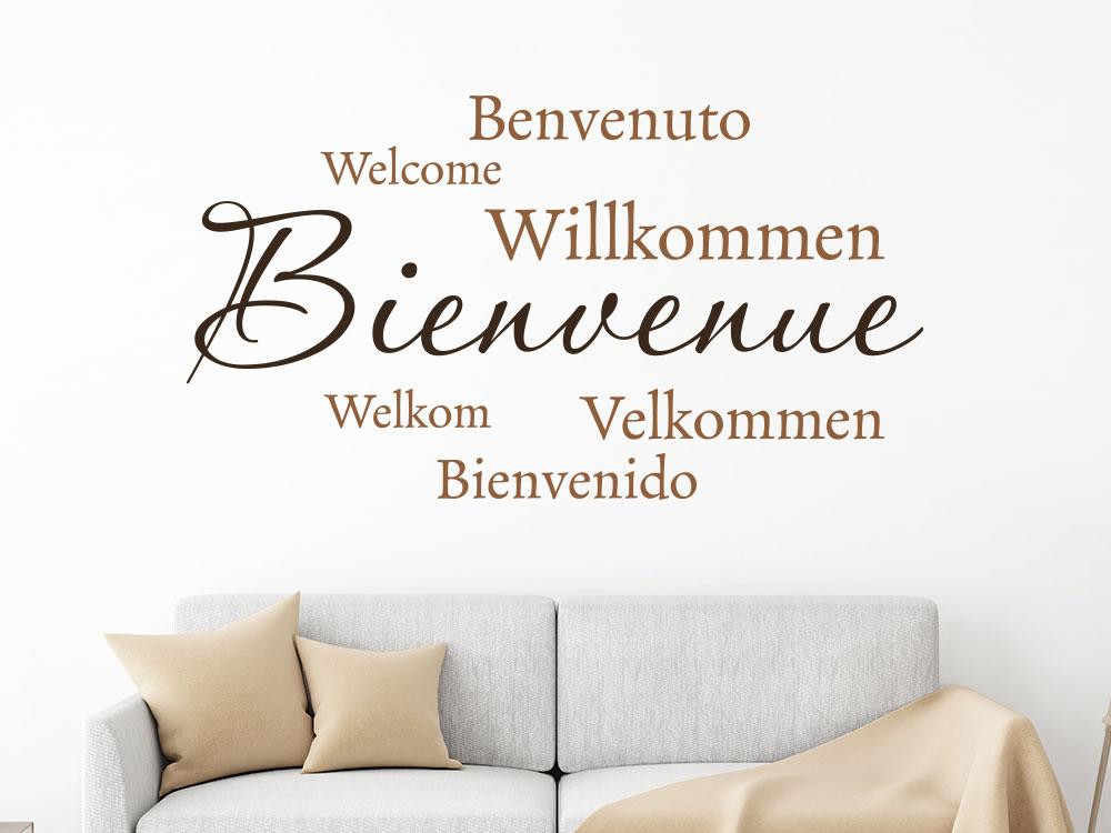 Zweifarbiges Wandtattoo Bienvenue Willkommen in verschiedenen Sprachen