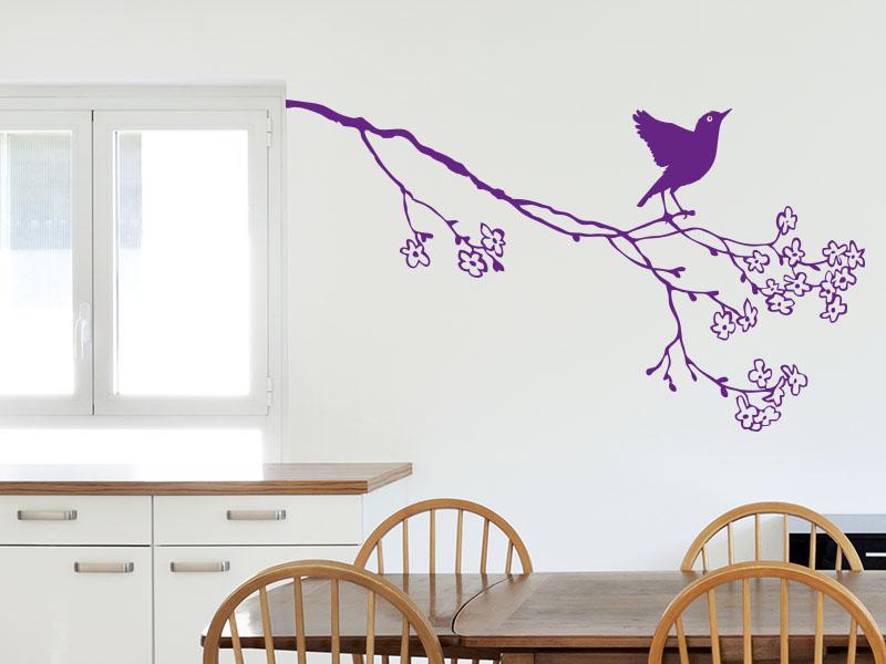 Wandtattoo Kirschblütenzweig mit Vogel