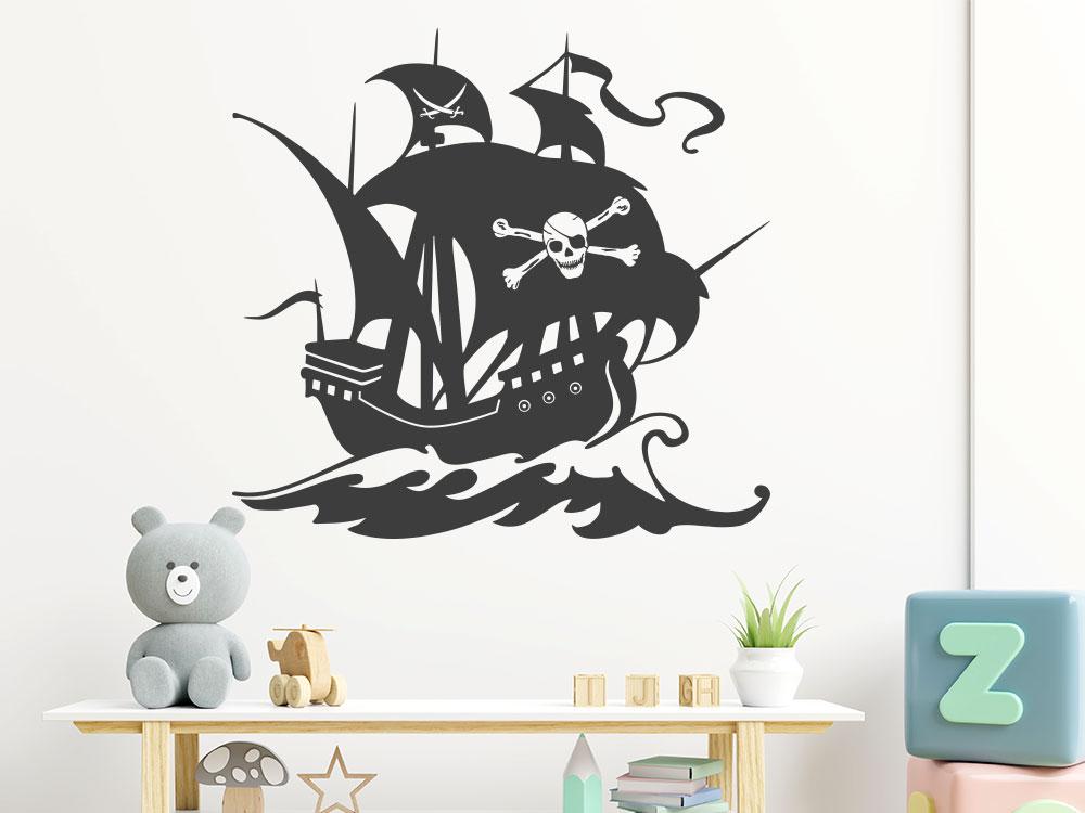 Piratenschiff Wandtattoo mit Totenkopf und Säbel