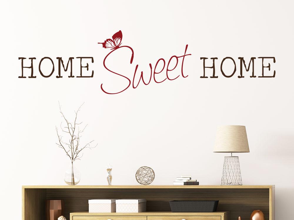 Wandtattoo Home Sweet Home Zweifarbig über Kommode Im Eingang
