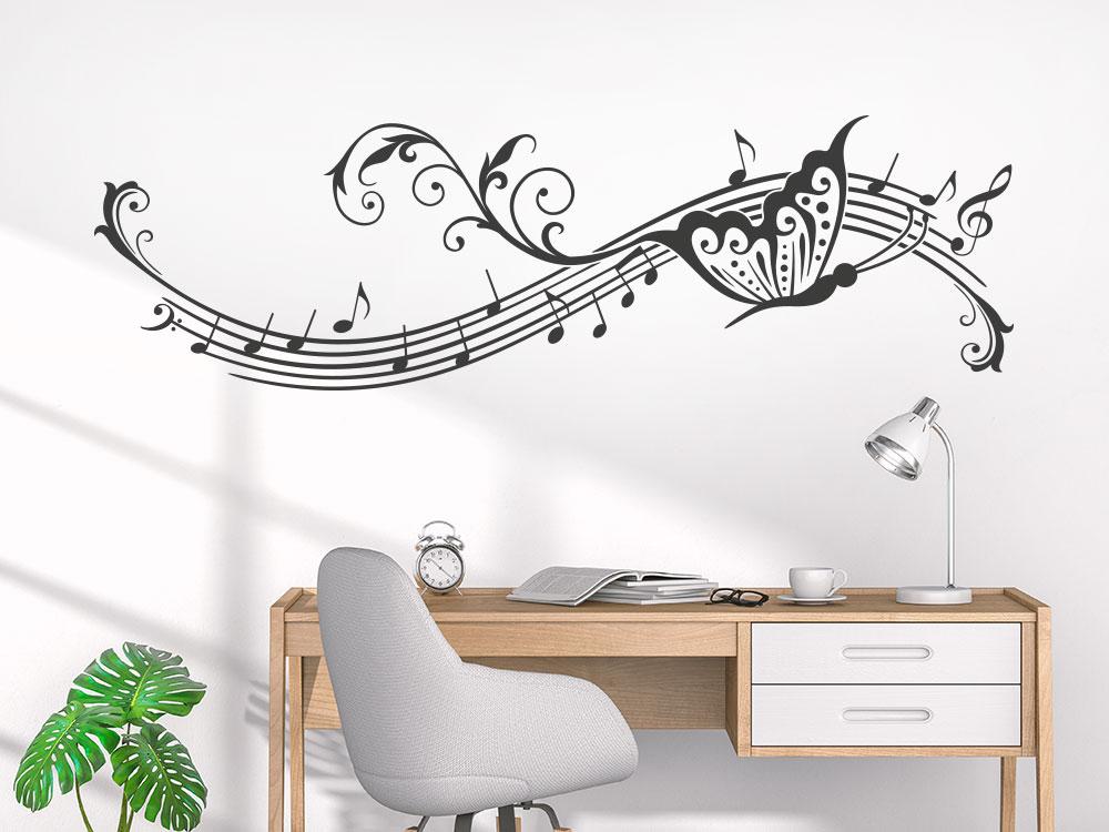 Wandtattoo Notenornament mit Schmetterling