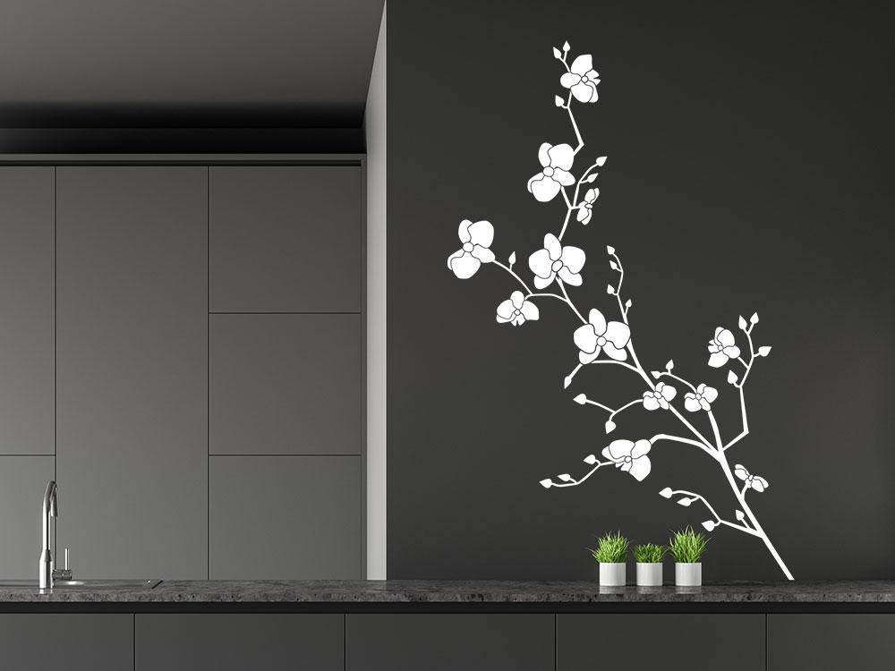 Wandtattoo Orchidee mit Blüten in der Küche