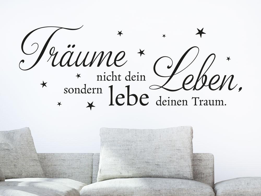 Wandtattoo Träumen nicht dein Leben mit Sternen... in Farbe als Wanddekoration fürs Wohnzimmer