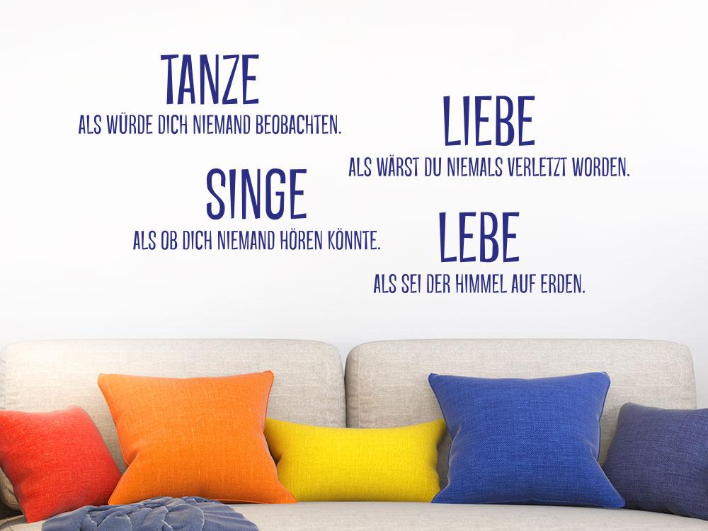 Wandtattoo Tanze Liebe Singe Lebe - Vorschau des Wandtattoos