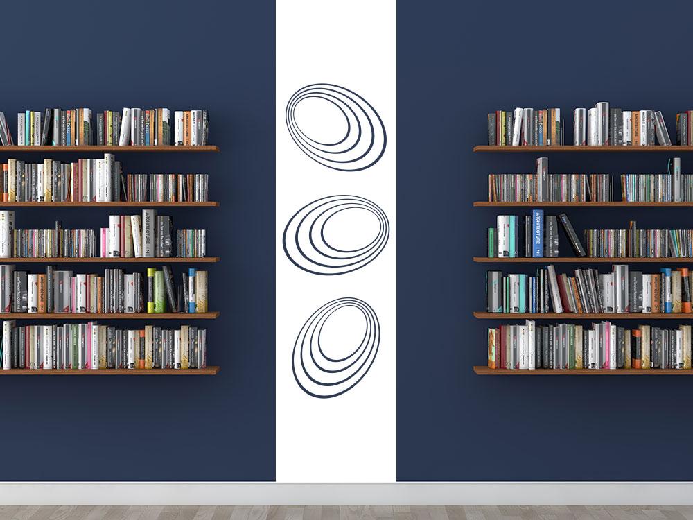 Wandtattoo Wandbanner Dimension der Kreise  zwischen zwei Bücherregalen