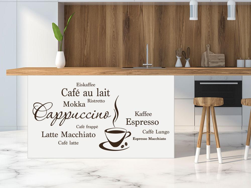 Dekorative Kaffee Wandtattoo Wortwolke in einer Küche