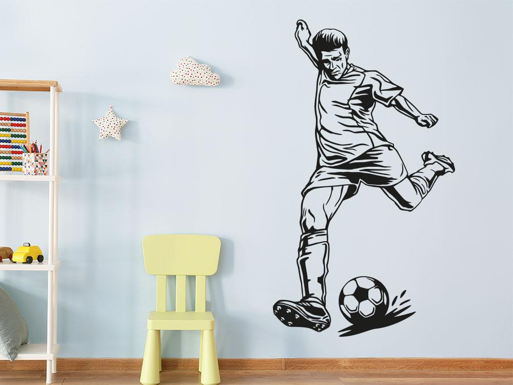 Wandtattoo Fußballspieler mit Ball