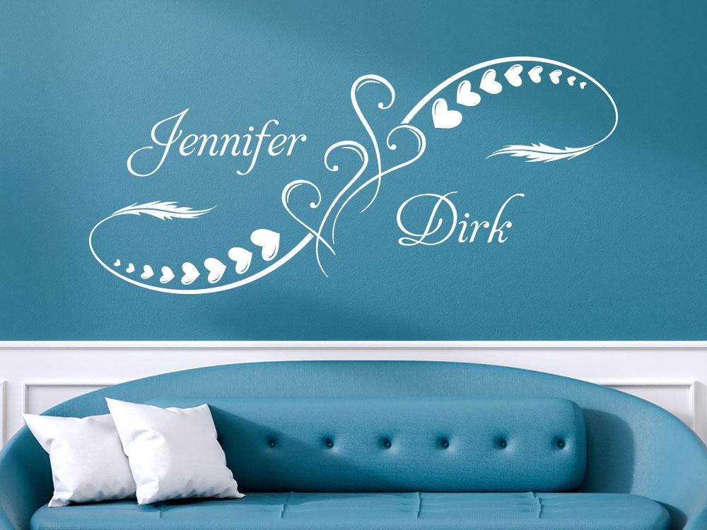 Herz Ornament Wandtattoo mit persönlichen Namen und dekorativer Feder