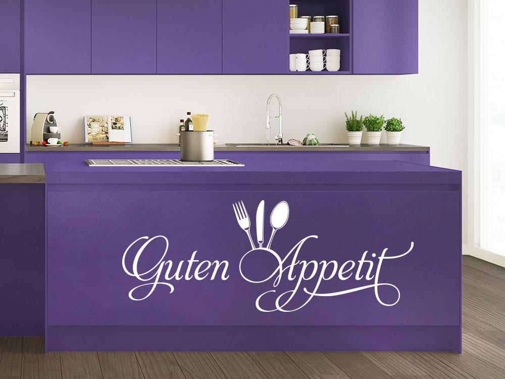 Wandtattoo Guten Appetit mit Besteck auf Lila Küchenblock