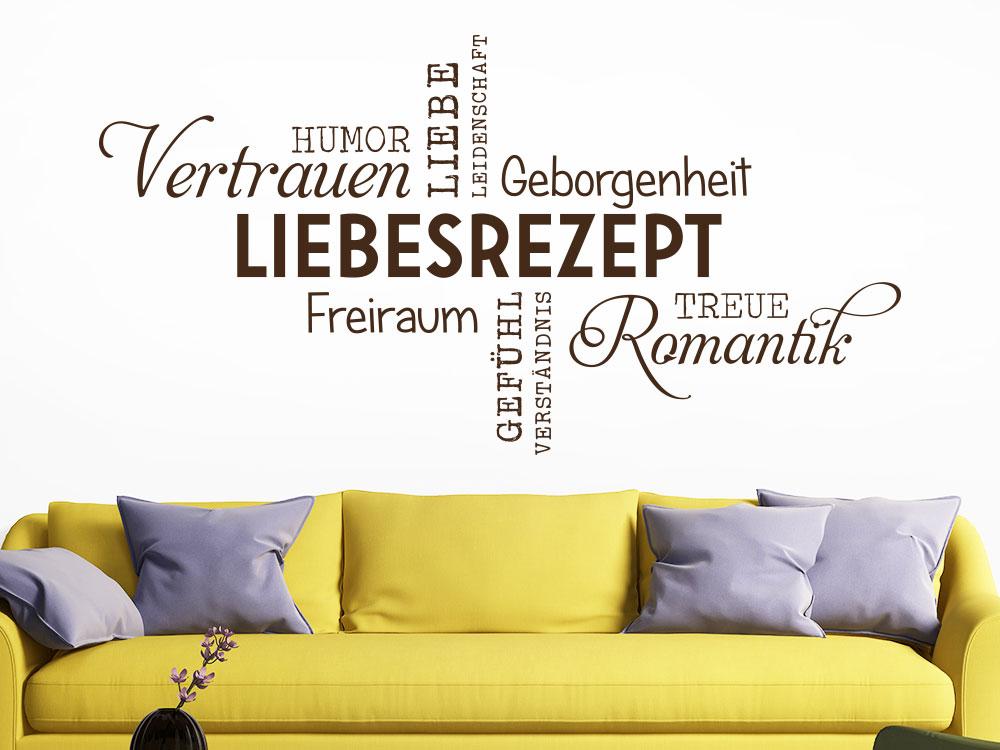 Wandtattoo Liebesrezept Wortwolke im Wohnzimmer