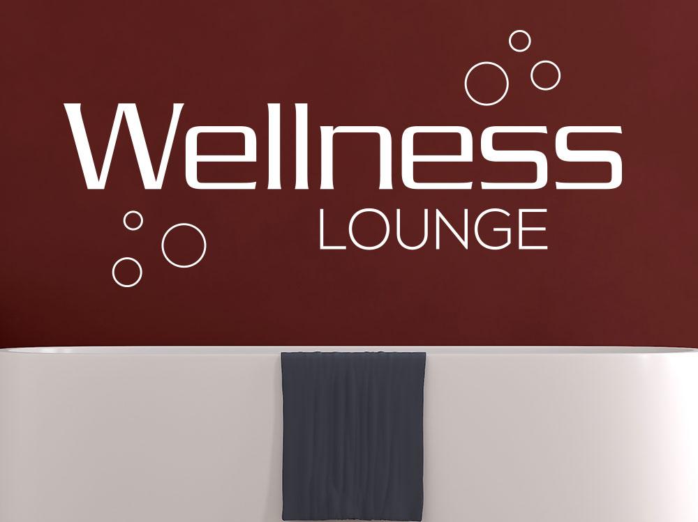 Wandtattoo Wellness Lounge im Badezimmer auf roter Wand