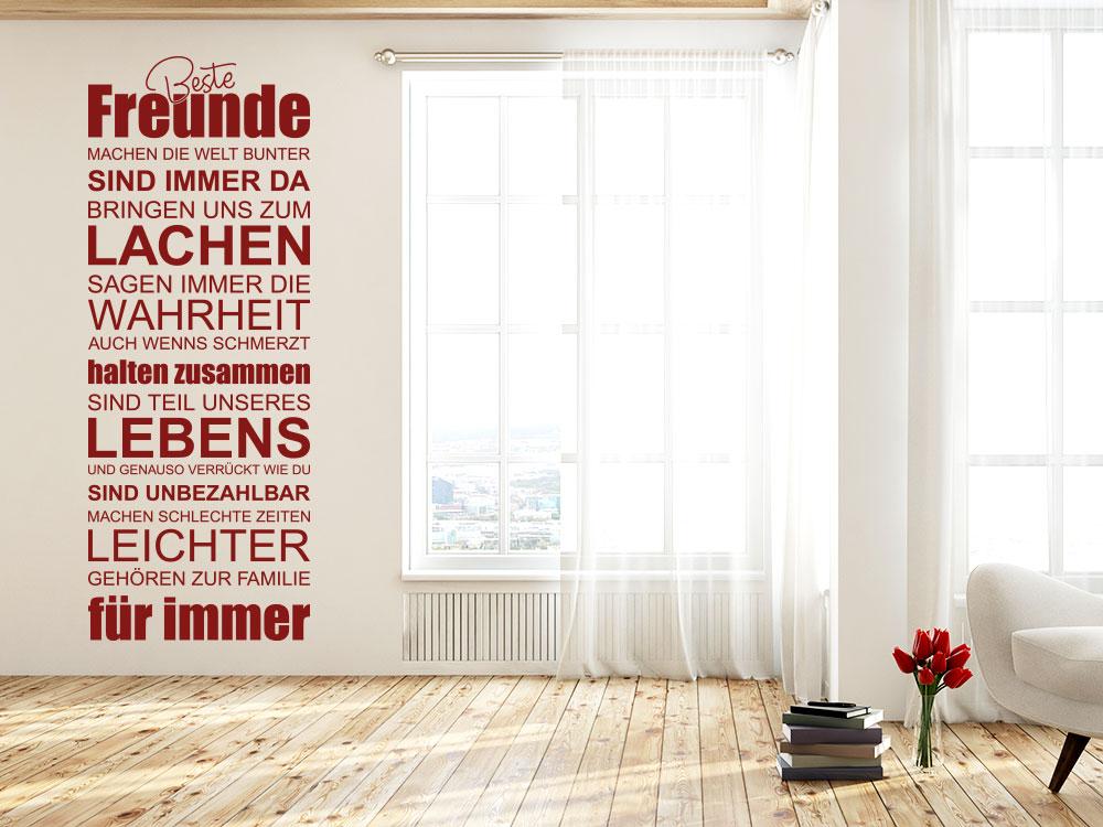 Wandtattoo Banner Beste Freunde im Wohnzimmer
