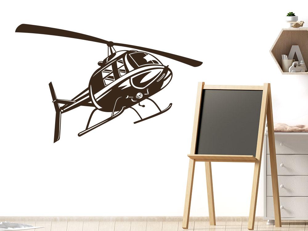 Hubschrauber Wandtattoo Helikopter im Kinderzimmer