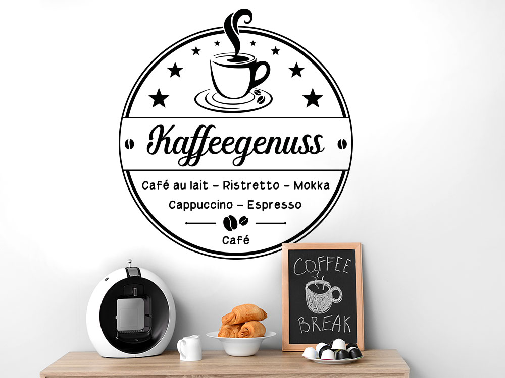 Wandtattoo Kaffeezeit mit Kaffeetasse Büro