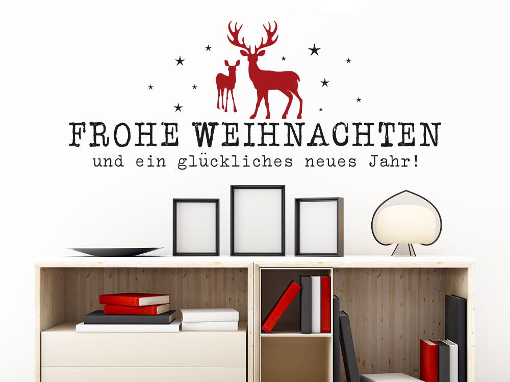 Wandtattoo Frohe Weihnachten mit Hirsch und Reh