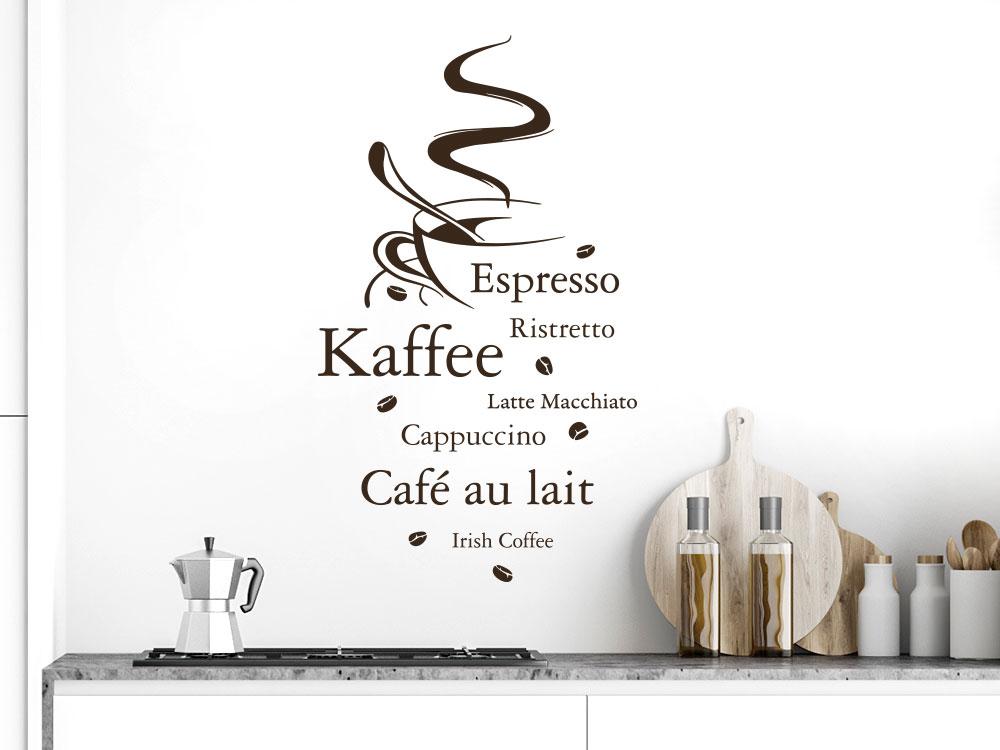 Wandtattoo Kaffeesorten