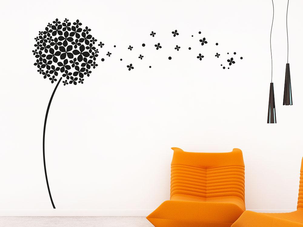 Dekoration Wandtattoo Pusteblume im Wohnzimmer