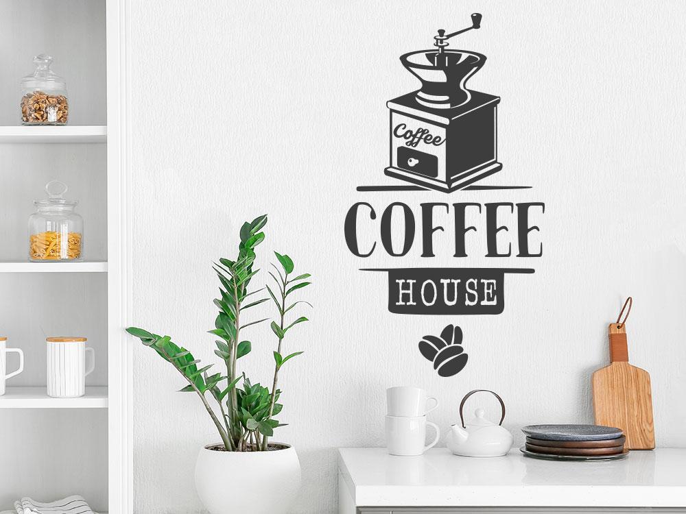 Wandtattoo Coffee House mit dekorativer Kaffeemühle und Kaffeebohnen
