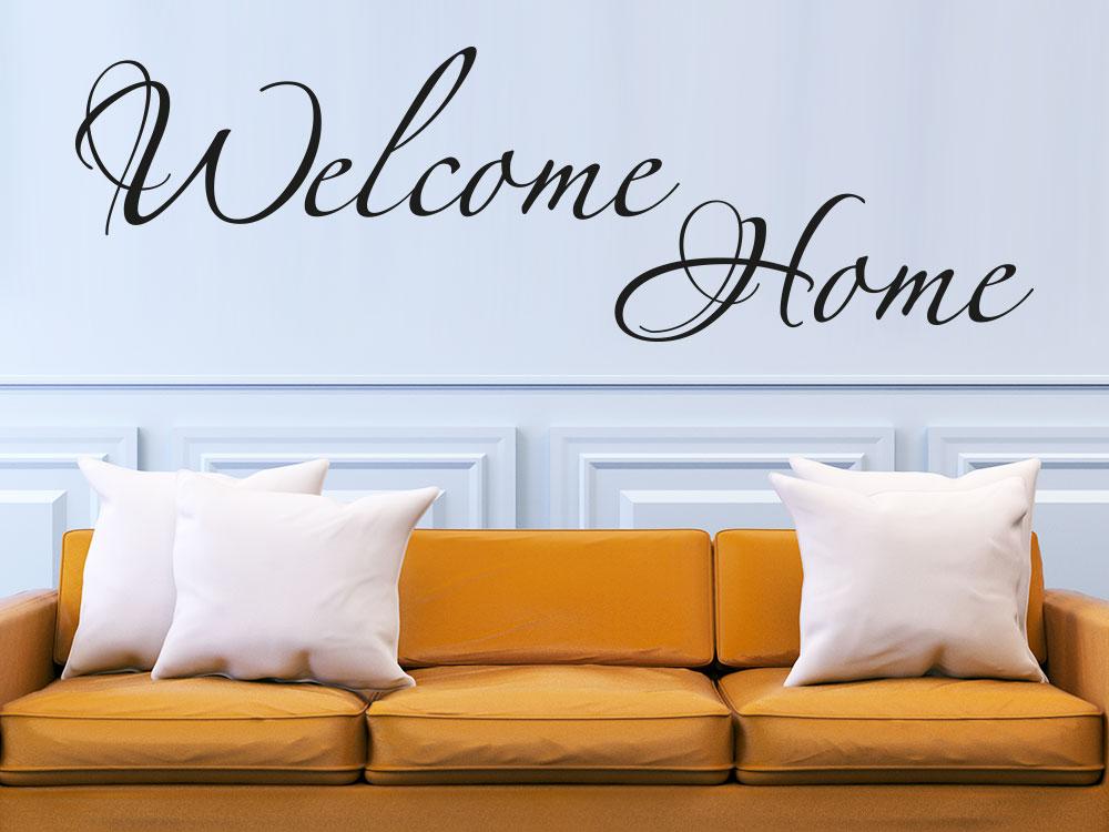 Wandtattoo Welcome Home Schriftzug im Flur über Couche