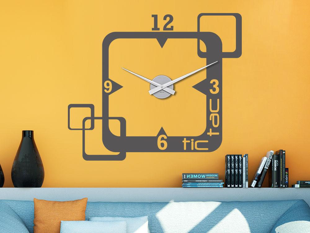 Wandtattoo Uhr tic tac Quadrate im Wohnzimmer
