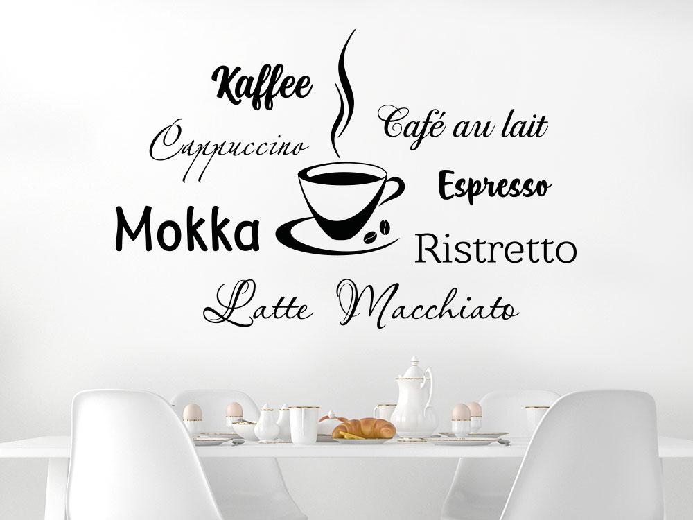 Wandtattoo Kaffeesorten mit Tasse