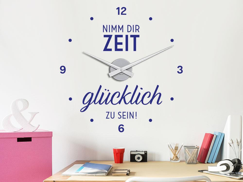 Wandtattoo Uhr Nimm dir Zeit im Arbeitszimmer auf heller Wand
