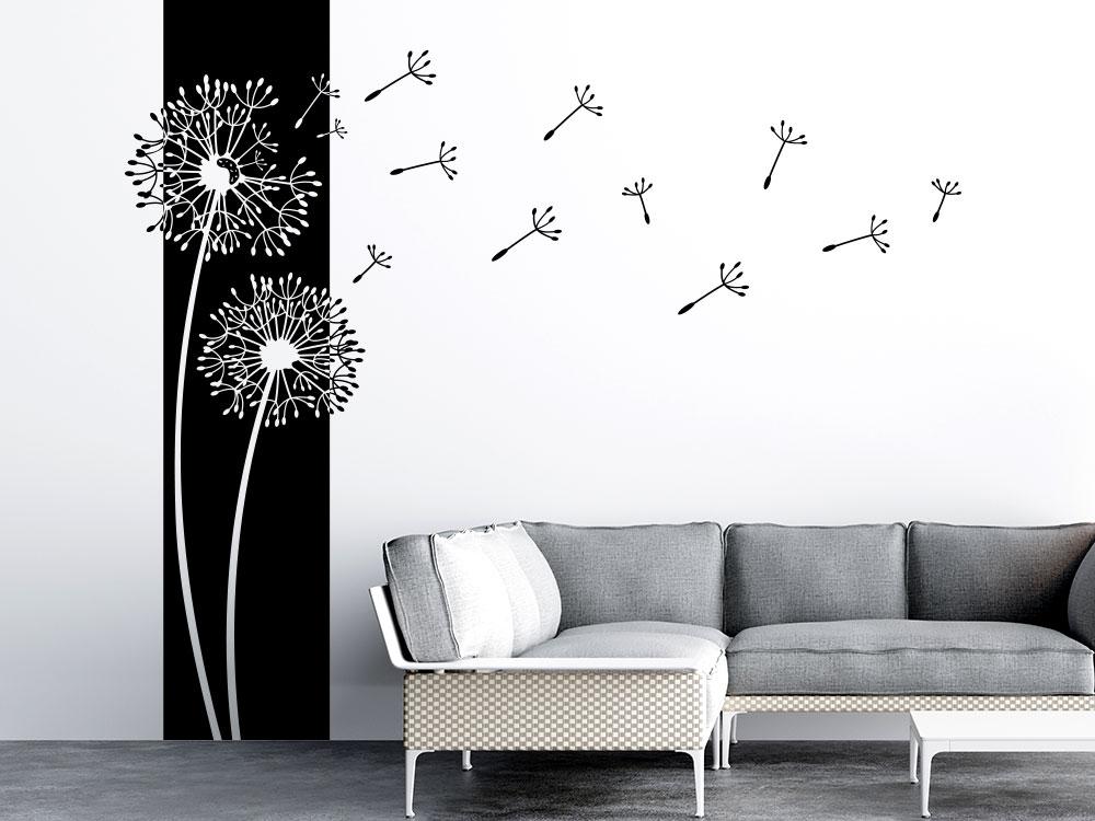 Wandbanner Pusteblumen mit umherfliegenden Samen