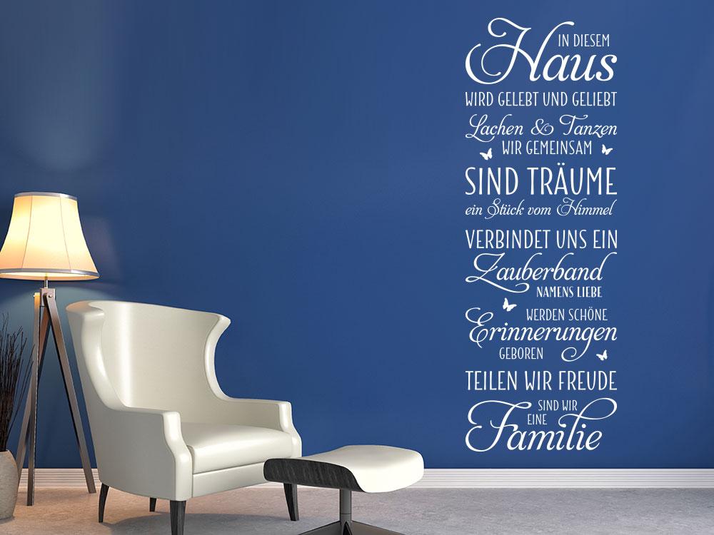 Wandtattoo Banner In diesem Haus… auf blauer Wandfarbe